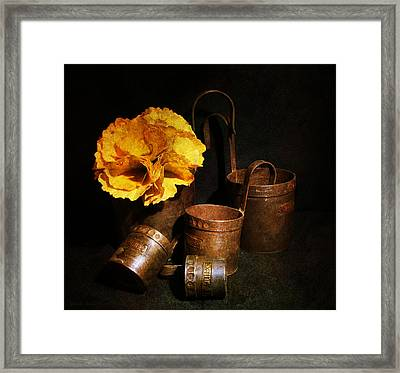 Autumn Still Life With A Flower From  Ginkgo Leaves And Vintage Measuring Cups.  Framed Print by Guna  Andersone