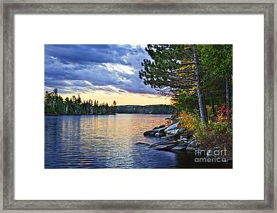 Autumn Sunset At Lake Framed Print by Elena Elisseeva