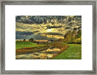 Autumn Sunset Reflection Framed Print by Jim Lepard