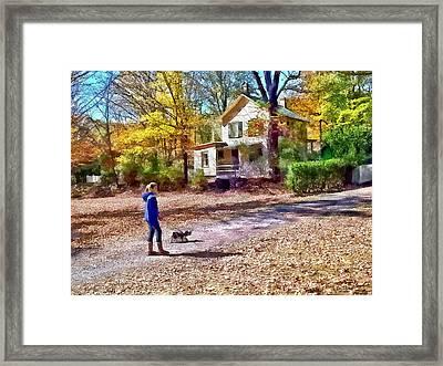 Autumn - Walking The Dog Framed Print by Susan Savad