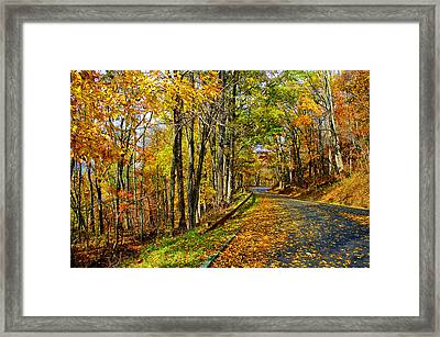 Autumn Winding Road Framed Print by Kevin Cable