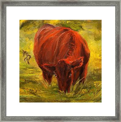 Autumn's Afternoon - Cow Painting Framed Print by Lourry Legarde