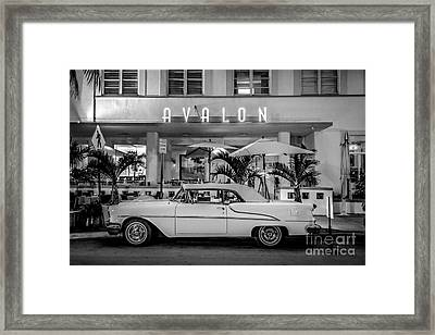 Avalon Hotel And Oldsmobile 88 - South Beach - Miami - Black And White Framed Print by Ian Monk