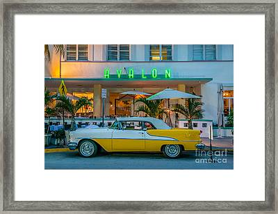 Avalon Hotel And Oldsmobile 88 - South Beach - Miami Framed Print by Ian Monk
