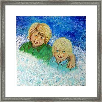 Avery And Atley Angels Of Brotherly Love Framed Print by The Art With A Heart By Charlotte Phillips