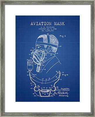 Aviation Mask Patent From 1946 - Blueprint Framed Print by Aged Pixel