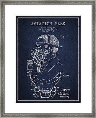 Aviation Mask Patent From 1946 - Navy Blue Framed Print by Aged Pixel