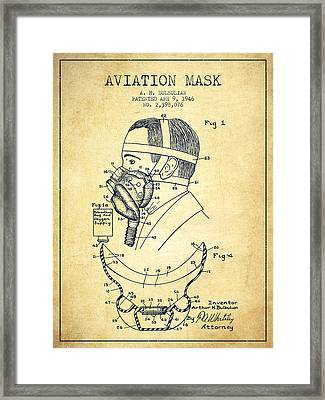 Aviation Mask Patent From 1946 - Vintage Framed Print by Aged Pixel