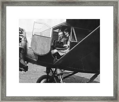 Aviator Clarence Chamberlin Framed Print by Underwood Archives