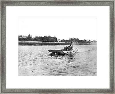 Aviator Sets Water Record Framed Print by Underwood Archives