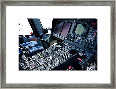 Aw139 Cockpit Framed Print by Olivier Le Queinec