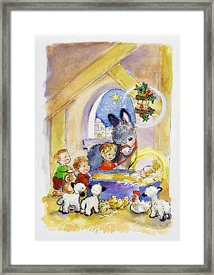 Away In A Manger Framed Print by Diane Matthes