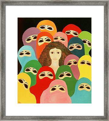 Ayesha, 1989 Oil On Canvas Framed Print by Laila Shawa