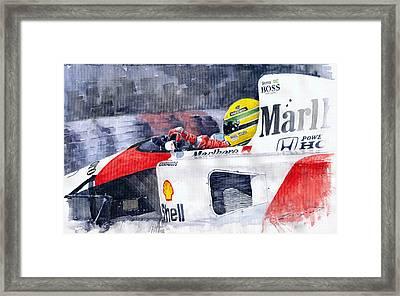 Ayrton Senna Mclaren 1991 Hungarian Gp Framed Print by Yuriy Shevchuk
