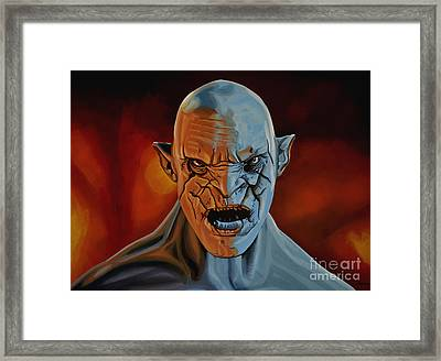 Azog The Orc Painting Framed Print by Paul Meijering