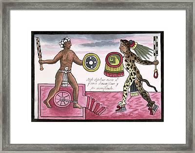 Aztec Sacrificial Fight Framed Print by Library Of Congress