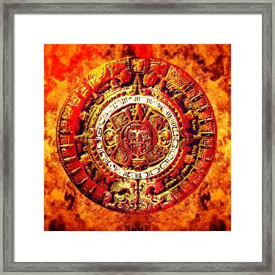 Aztec Sun Stone Framed Print by YoPedro