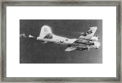The Thomper B 17 During Fierce Aerial Combat In Ww II Upsized Framed Print by L Brown