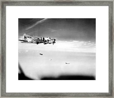 B 17 On A Bombing Mission Ww II Framed Print by L Brown