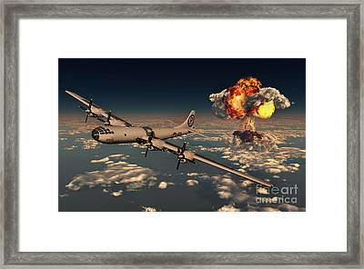 B-29 Superfortress Flying Away Framed Print by Mark Stevenson