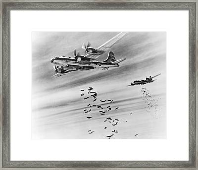 B-29s Bombing Burma Framed Print by Underwood Archives