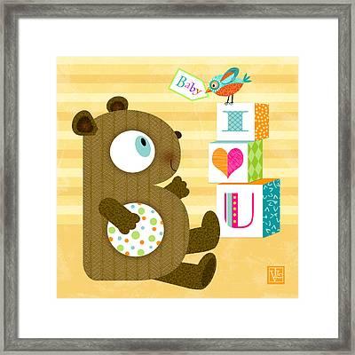 B Is For Baby Bear Framed Print by Valerie Drake Lesiak