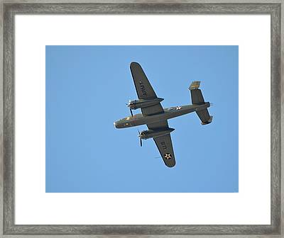 B25 Mitchell Wwii Bomber From 70th Anniversary Of The Doolittle Raid Flies Over Florida 21 April 13 Framed Print by Jeff at JSJ Photography