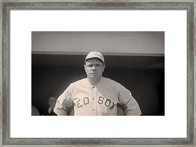 Babe Ruth With The Sox Framed Print by Mountain Dreams