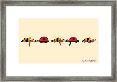 Baby Bees And Lady Bugs Framed Print by Anne Geddes