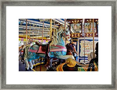 Baby Blue Painted Pony - Carousel Framed Print by Colleen Kammerer