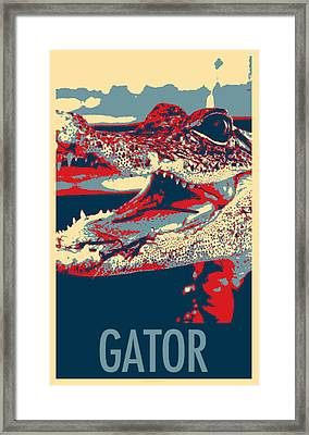 Baby Gator In Hope Framed Print by Rob Hans