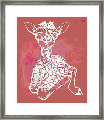 Baby Giraffe -  Pop Modern Etching Art Poster Framed Print by Kim Wang
