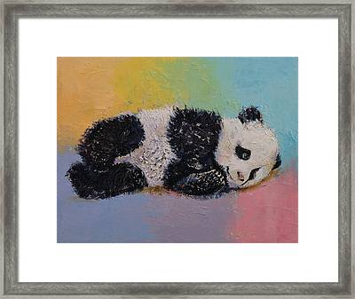 Baby Panda Rainbow Framed Print by Michael Creese