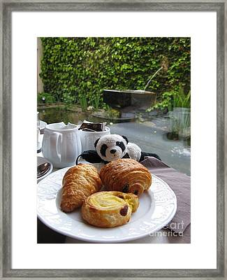 Baby Panda And Croissant Rolls Framed Print by Ausra Huntington nee Paulauskaite