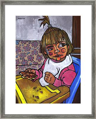 Baby With Pizza Framed Print by Douglas Simonson
