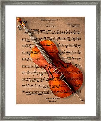 Bach On Cello Framed Print by Sheryl Cox