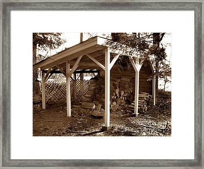 Back In The Day Woodshed Framed Print by Skip Willits