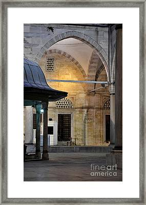 Back Lit Interior Of Mosque  Framed Print by Imran Ahmed