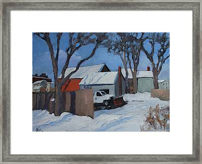 Back Lots Saugerties Framed Print by Nancy Campbell