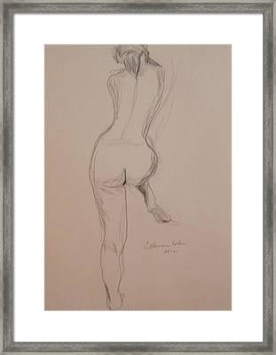 Back Of Nude With Foot Up Framed Print by Esther Newman-Cohen