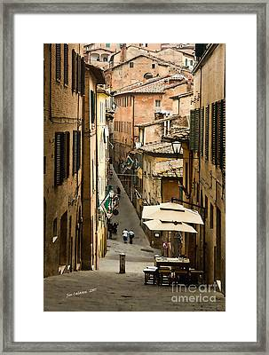 Back Street In Siena Italy Framed Print by Jim  Calarese