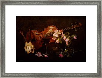Back To The Past- Still Life With Violin Framed Print by Guna  Andersone
