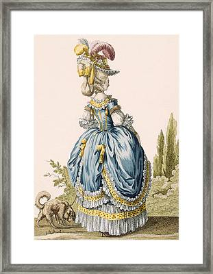 Back View Of A Ladys Gown, Engraved Framed Print by Claude Louis Desrais
