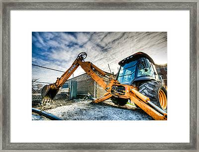 Backhoe At Sunset Framed Print by Anthony Doudt
