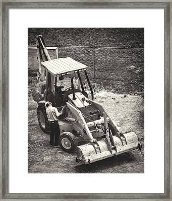 Backhoe Bw Framed Print by Rudy Umans