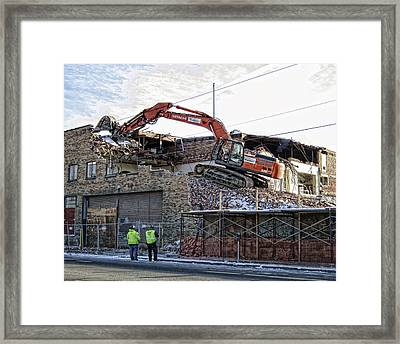 Backhoe Demolition Framed Print by Daniel Hagerman