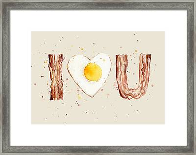 Bacon And Egg I Heart You Watercolor Framed Print by Olga Shvartsur
