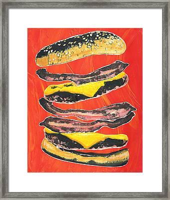 Bacon Cheese Burger Framed Print by Alberto Nolazco