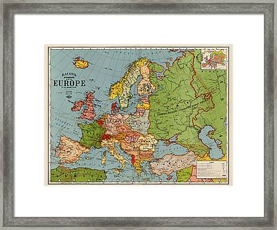 Bacon's Standard Map Of Europe - Circa 1920 Framed Print by Blue Monocle