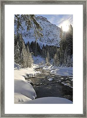 Baergunt Valley Kleinwalsertal Austria In Winter Framed Print by Matthias Hauser